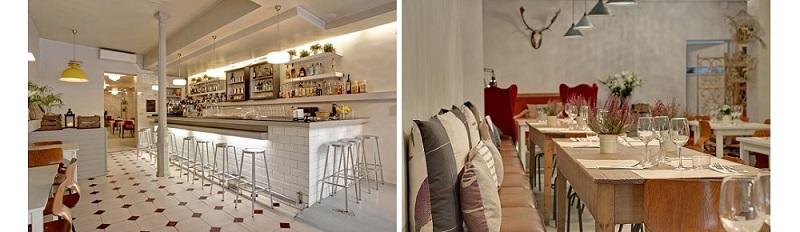 Barra y sala del restaurante Clarita. Madrid
