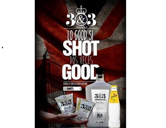 Eslogan del shot gin tonic de 3&3
