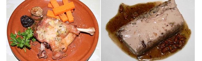 Pato asado y Pudín de frutos secos de los bosques de Teodosio. Hotel Comendador