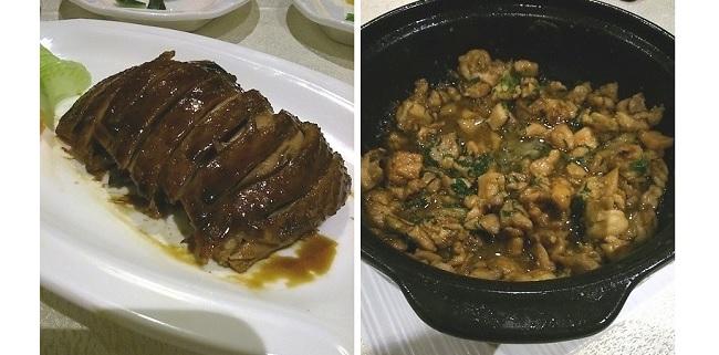 Pato crujiente y Olla de pollo a la cantonesa en El Bund