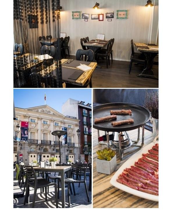 Sala, terraza y carne en O Cacho, Madrid