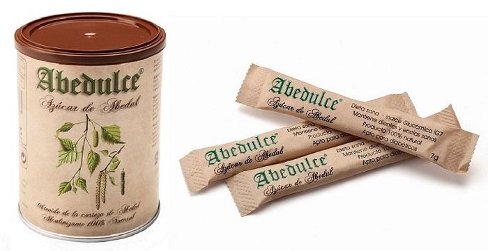 Bote y monodosis de azúcar de abedul Abedulce