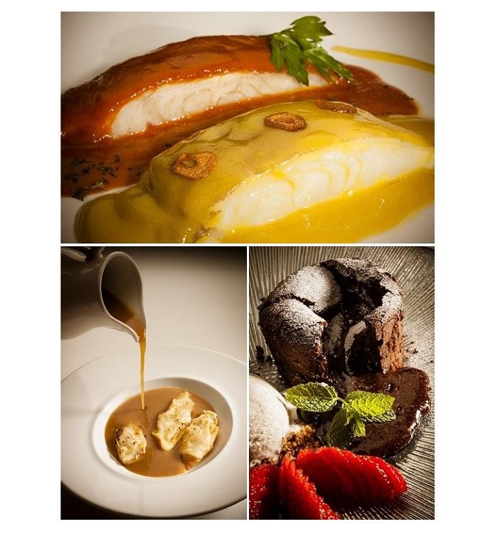Bacalao dos gustos; Crema de cebolla con tosta de queso Ideazabal; y Bizcocho de chocolate con corazón fluido. Embarcadero