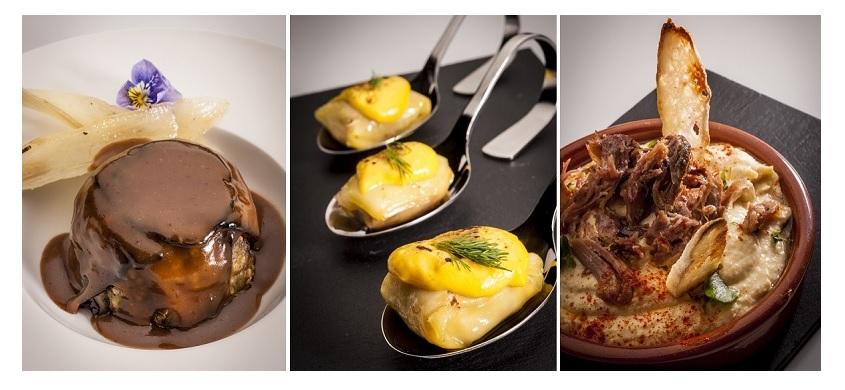 Charlotte de oca con salsa cumberlan; Ravioli rellenos de ganso; y Hummus con ganso confitado