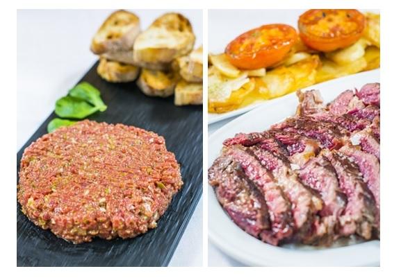 Steak tartar y Entrecot de buey