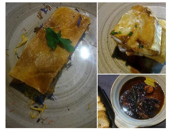 Empanada de sardinas, Delicia de queso y Foie al Pedro Ximenez. Montes de Galicia, Madrid