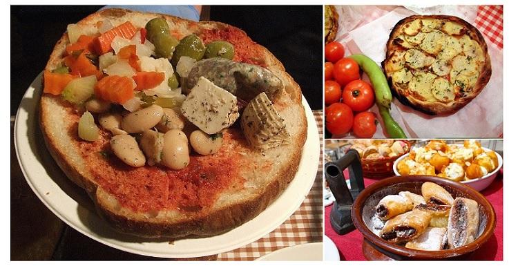Hobz Biz-Zejt (pan maltés), Ftira (pizza) e Imqaret. Malta