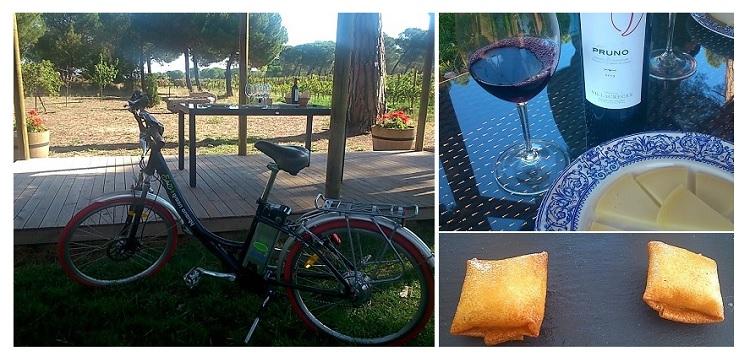 Picnic con vino, quesos y sacos de huevo frito con patatas y beicon, en Finca Villacreces