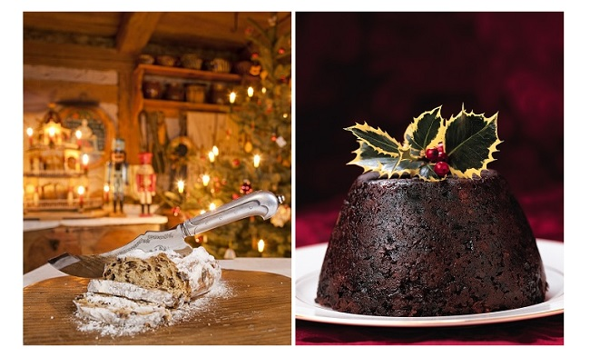Christstollen de Dresde (©Tourismus Marketing Gesellschaft Sachsen mbH. Sylvio Dittrich) y Christmas pudding inglés (©VisitBritain. Britain on View)