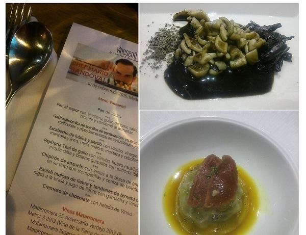 Chipirón de anzuelo y Ravioli de liebre elaborados con variedades Vinesenti