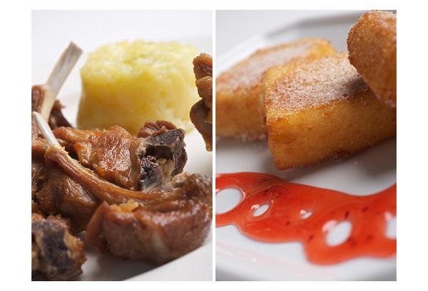 Chuletas de cordero lechal de Aranda y Leche frita castellana, en El Mesón de Fuencarral