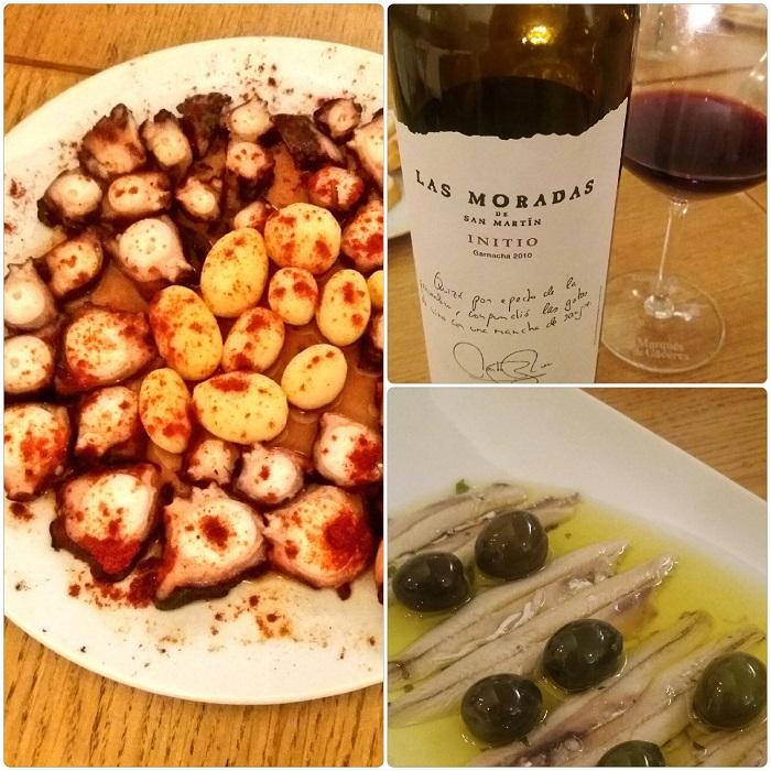 Picoteo gourmet en La Cava del Meninas. Pulpo, boquerones y vino de Madrid